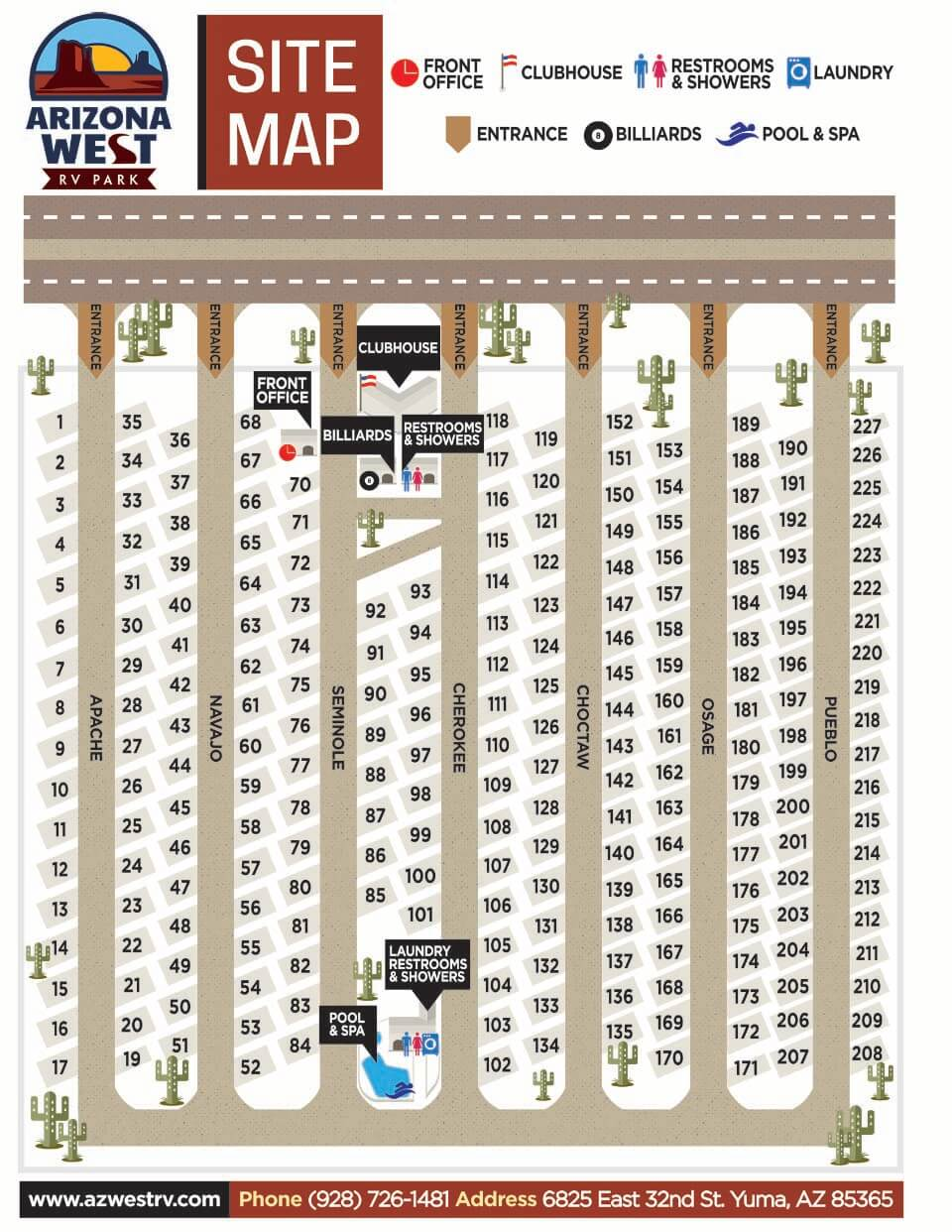 Arizona West RV Park - park map